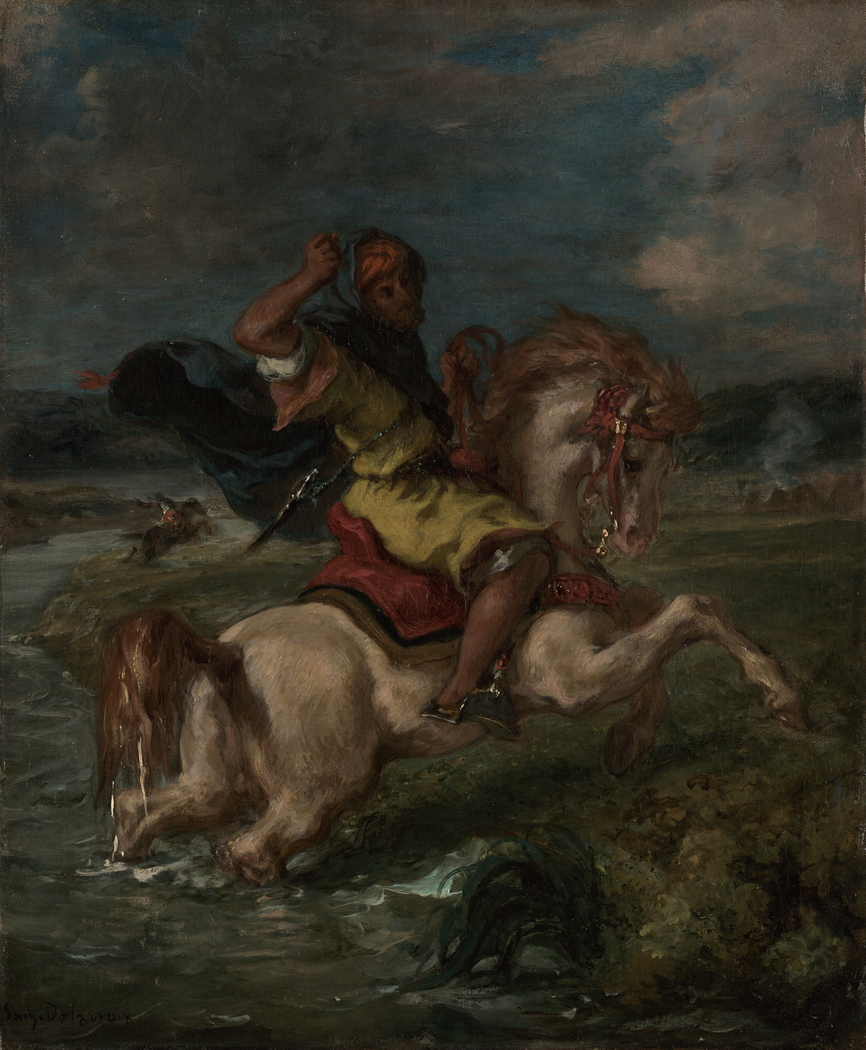 Moroccan Horseman Crossing a Ford
