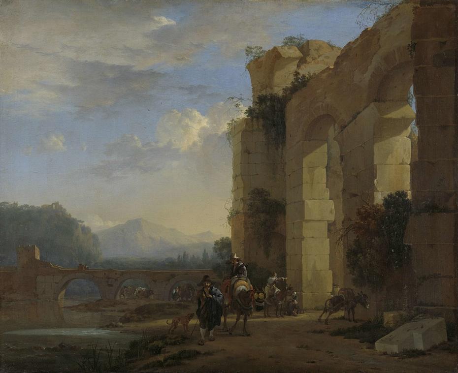 Muleteers beside an Italian Ruin
