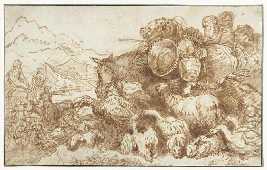Noach met de dieren op weg naar de ark