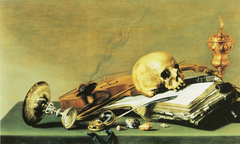Open book, Skull, Violin and Oil Lamp