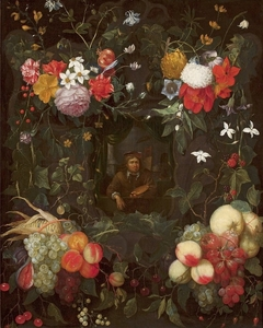 Portrait of a painter surrounded by a garland (detail).