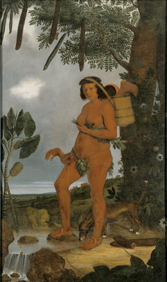 Portrait of a Tapuya woman holding human body parts