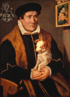 Portret van een man met een hond