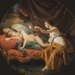 Psyche surprising sleeping Cupid