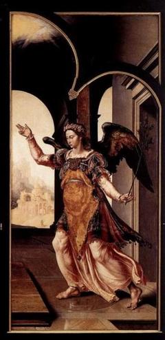 Rechterzijluik van het Drapeniersaltaar, buitenzijde: Annunciatie (de engel Gabriël)