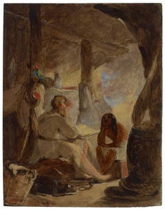 Robinson Crusoe and Friday in the Cave
