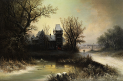 Romantic Winter Landscape with Gothic Castle
