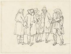 Schets van vijf staande mannen