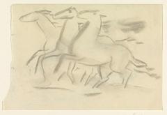 Schetsblad met drie paarden