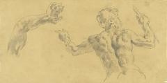Schetsen van een arm en een op de rug geziene man