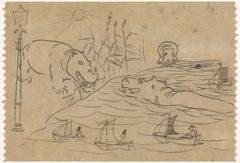 Schetsen van nijlpaarden, zeilbootjes en een straatlantaarn