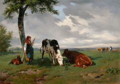 Shepherdess and Two Cows in a Meadow