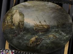 Shipwreck off a Rocky Coast