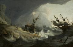 Shipwreck off a rocky coast on March 1694.