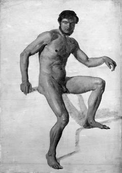 Siddende nøgen mandlig model