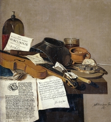 Still Life with a Copy of De Waere Mercurius, a Broadsheet with the News of Tromp's Victory over three English Ships on 28 June 1639, and a Poem telling the story of Apelles and the Cobbler