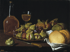 Still Life with Bread Pomegranates Figs and Tableware