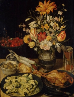Still Life with Flowers and Snacks