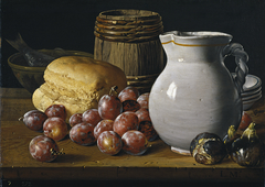 Still Life with Plums Figs Bread Barrel Jug and Other Vessels