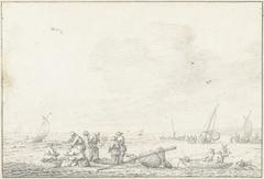 Strandgezicht met op de voorgrond een groep vissers