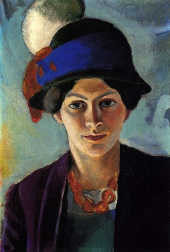 The artist's wife in blue hat