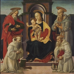 The Madonna and Child enthroned with Saints John the Evangelist and Jerome, and two Benedictine saints