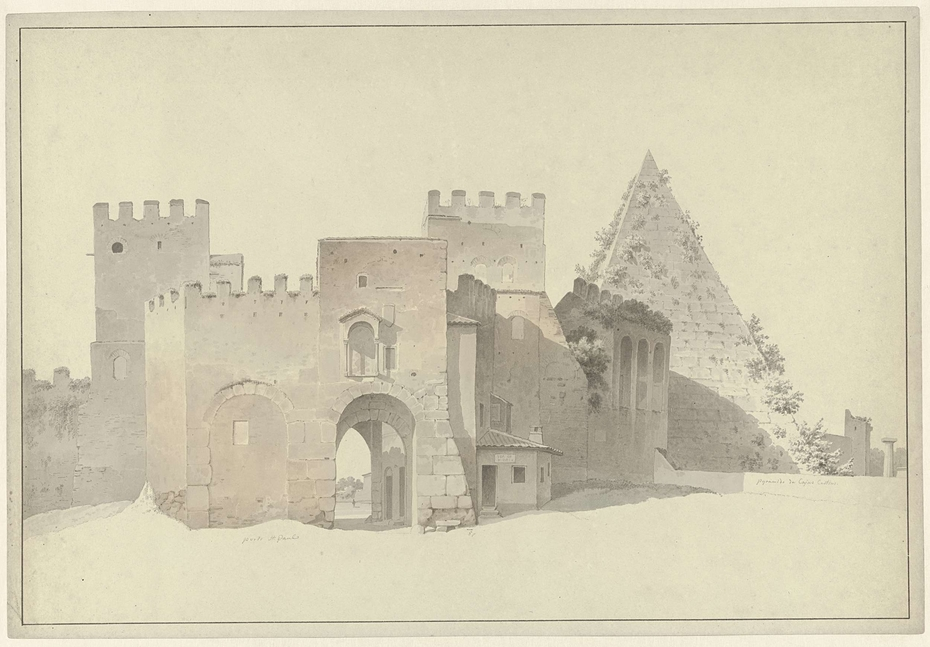 The Porta San Paolo and the Pyramid of Cestius in Rome