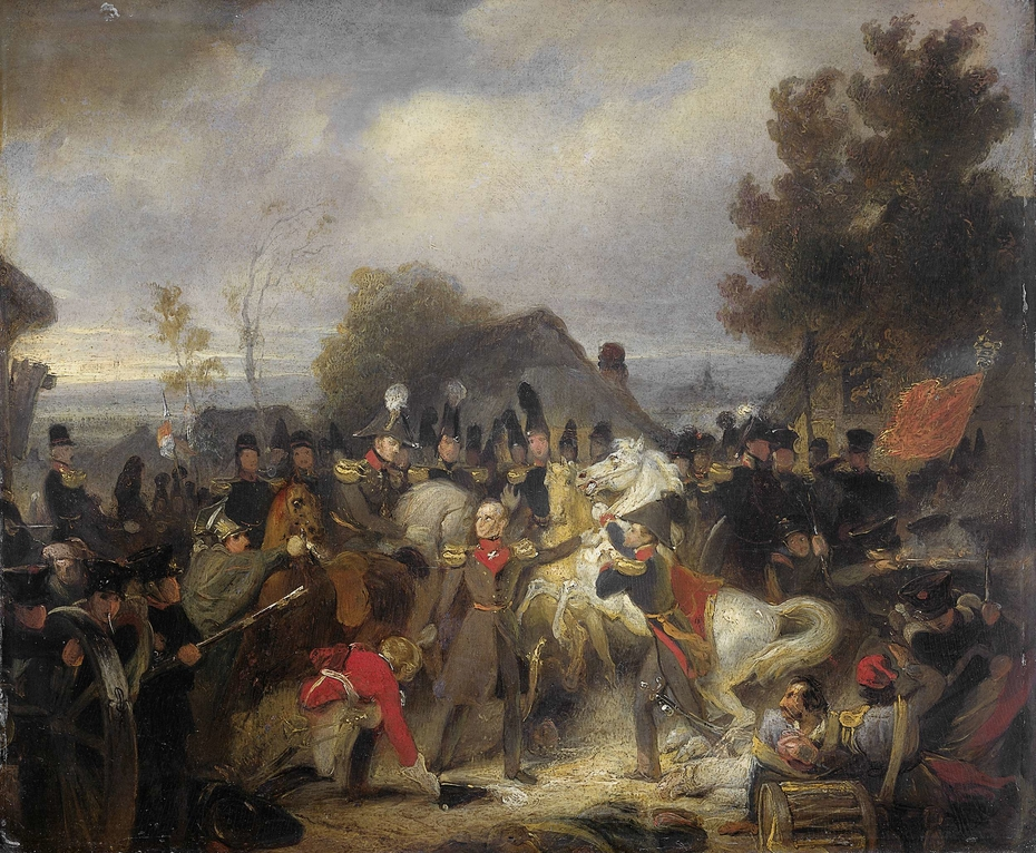 The Prince of Orange changing his Wounded Horse during the Engagement at Boutersem