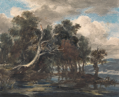 Trees by a River, Cloudy Sky