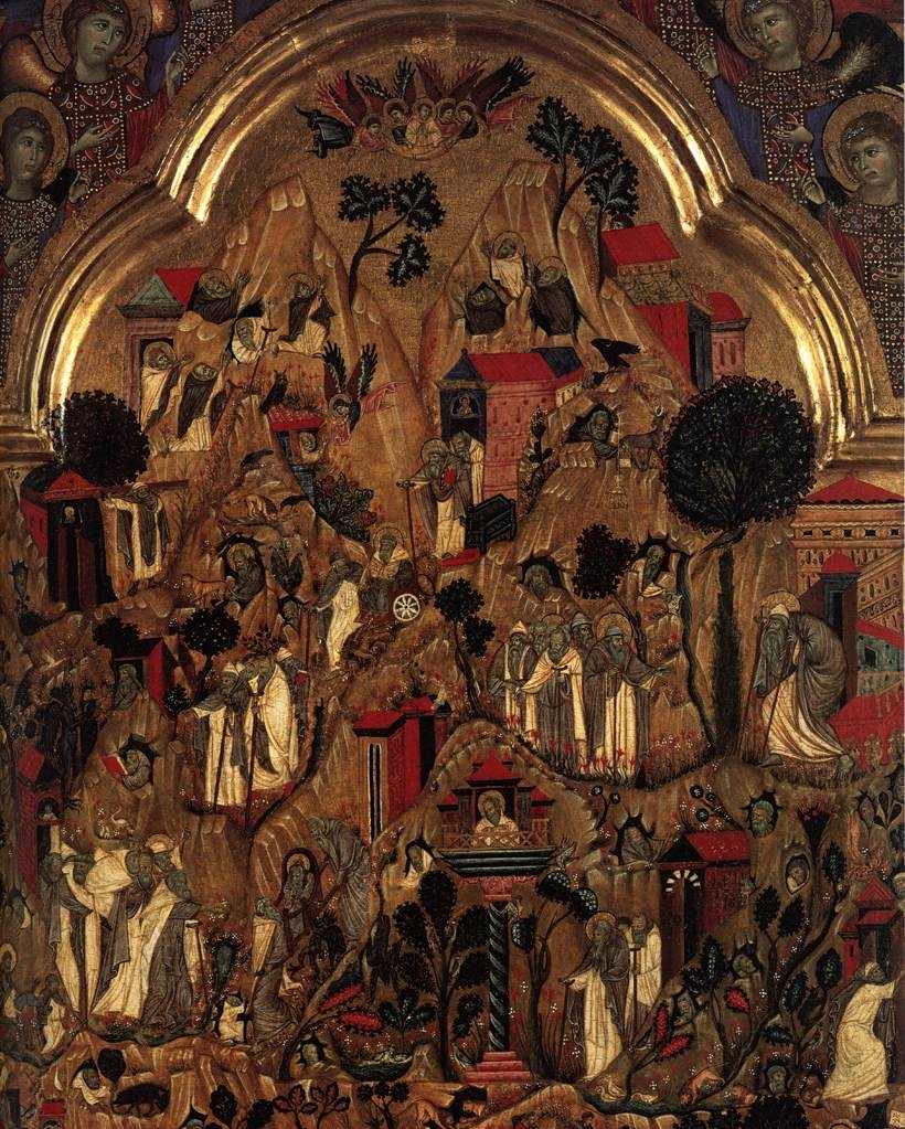 Triptych. Centre Panel: Death of St Ephraim with scenes from the lives of the monks in the Thebaid. Above; the Redeemer and six angels. Left Wing: Mourning Angels; the Crucifixions; the three Marys at