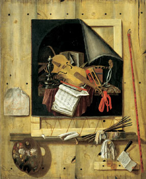 Trompe-l'œil Still Life : Canvas and Painting Tools