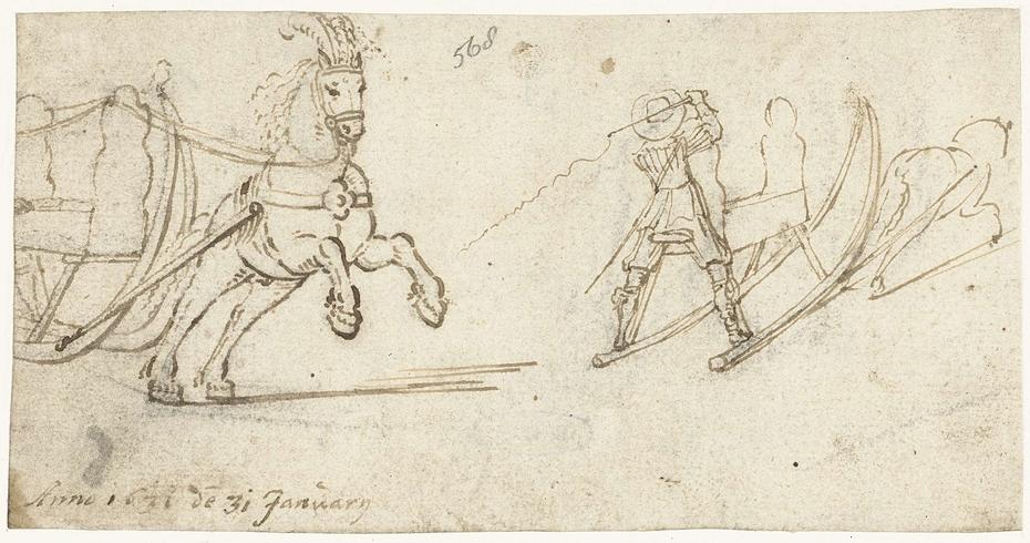 Twee studies van een paard en arrenslee