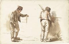 Twee studies van een staande man