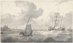 Tweemaster en vissersboot voor de kust