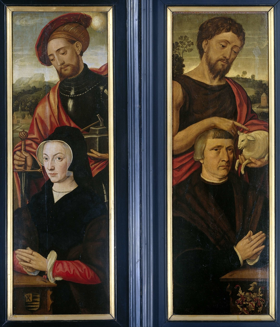 Two Wings of a Triptych with Portraits of Donors with Saints Adrian and John the Baptist