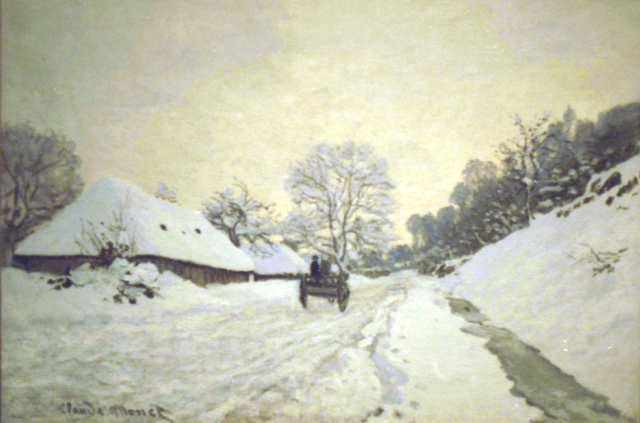 The Cart. Road under Snow in Honfleur