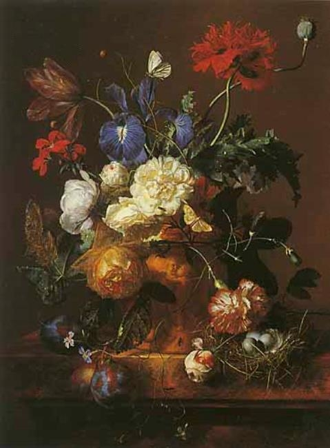 Vase of Flowers in a flower pot and a bird's nest on a marble slab