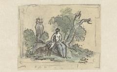 Vrouw met hond in park