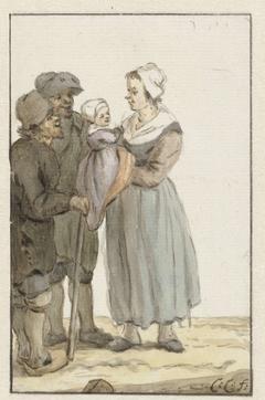 Vrouw met kind bij twee mannen