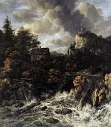Waterfall with mountain top castle and cottage