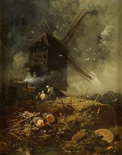 Windmühle bei aufziehendem Wetter