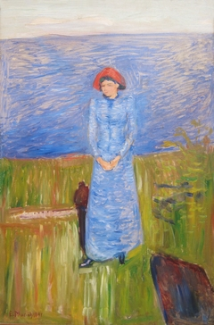 Woman in Blue against Blue Water