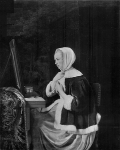 Young woman at her toilet