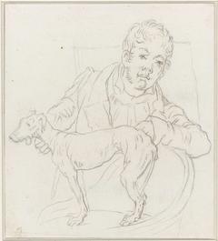 Zelfportret van Louis Moritz met hond