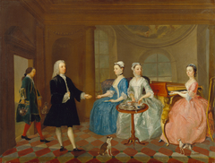 A Family Being Served with Tea