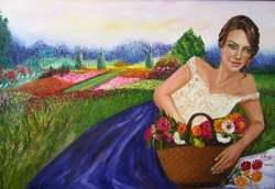 A Girl with Flower busket