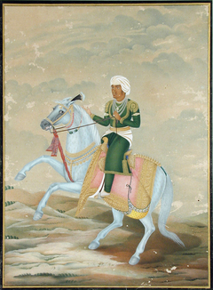 A horseman, dressed in green with a white-streaked turban, mounted on a blue ho