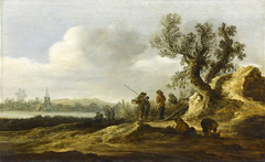 A River Landscape with Figures conversing beneath a Tree