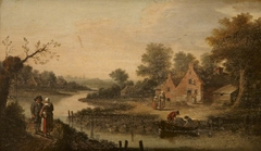 A River Landscape with Figures outside a Cottage