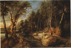 A Shepherd with his Flock in a Woody Landscape